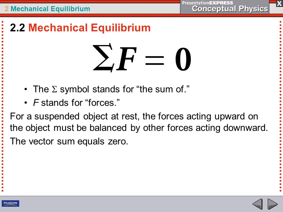 2 Mechanical Equilibrium The  symbol stands for the sum of. F stands for forces. For a suspended object at rest, the forces acting upward on the object must be balanced by other forces acting downward.