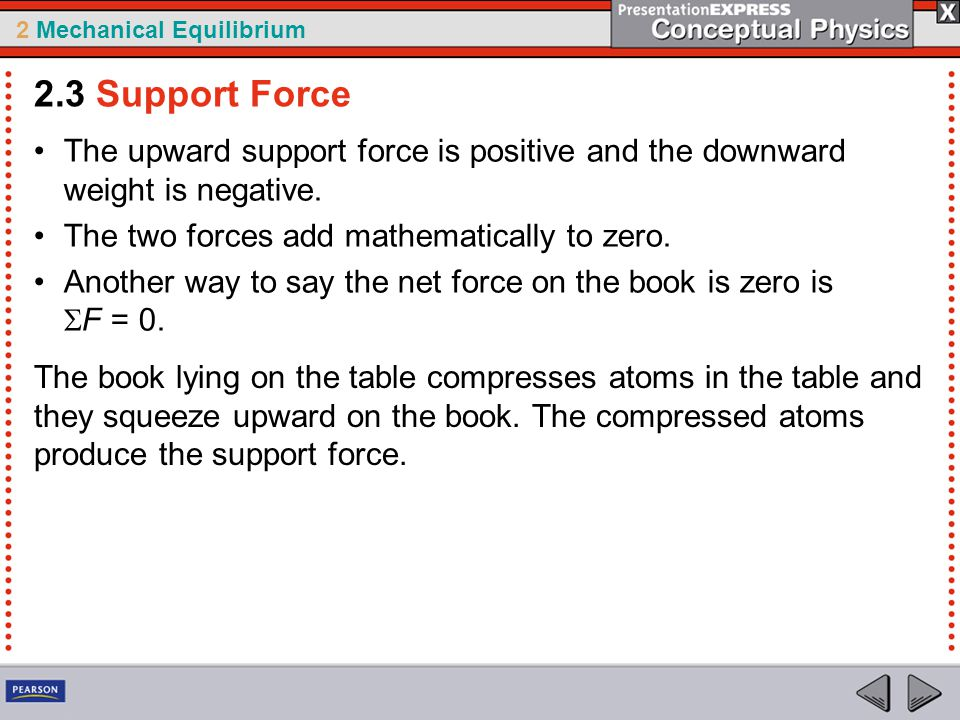2 Mechanical Equilibrium The upward support force is positive and the downward weight is negative. The two forces add mathematically to zero. Another