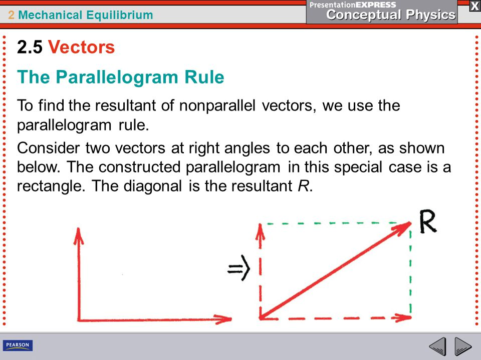 2 Mechanical Equilibrium The Parallelogram Rule To find the resultant of nonparallel vectors, we use the parallelogram rule. Consider two vectors at r