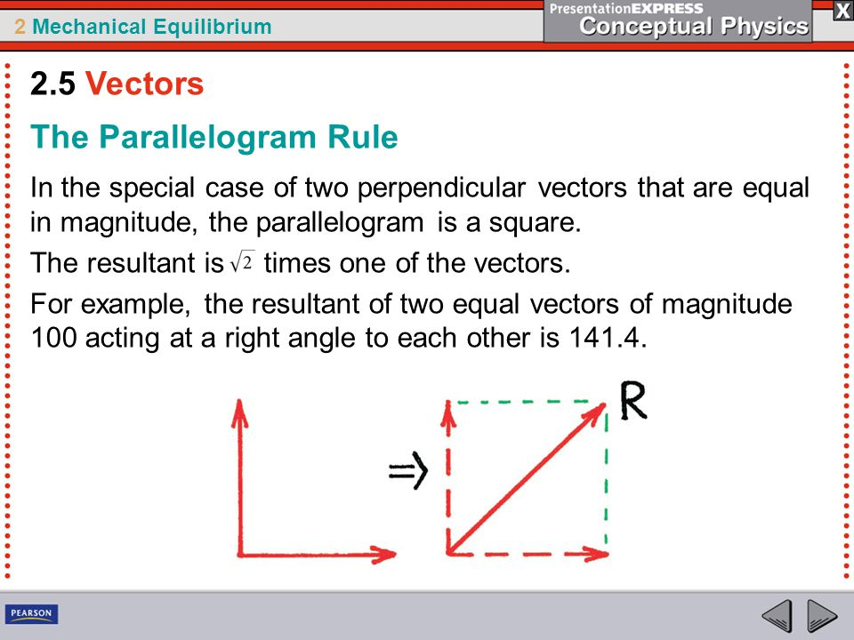 2 Mechanical Equilibrium The Parallelogram Rule In the special case of two perpendicular vectors that are equal in magnitude, the parallelogram is a square.