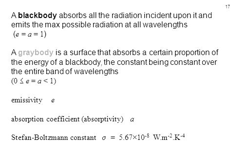 17 A blackbody absorbs all the radiation incident upon it and emits the max possible radiation at all wavelengths ( e = a = 1 ) A graybody is a surfac