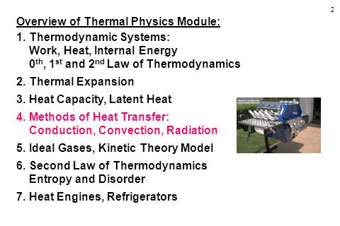 2 Overview of Thermal Physics Module: 1.Thermodynamic Systems: Work, Heat, Internal Energy 0 th, 1 st and 2 nd Law of Thermodynamics 2.Thermal Expansi