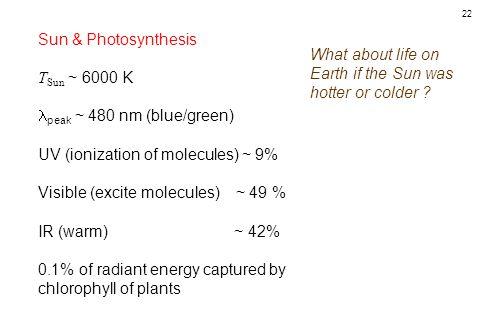 22 Sun & Photosynthesis T Sun ~ 6000 K peak ~ 480 nm (blue/green) UV (ionization of molecules) ~ 9% Visible (excite molecules) ~ 49 % IR (warm) ~ 42%