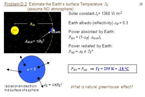 25 Problem D.2 Estimate the Earth's surface Temperature T E (assume NO atmosphere) Solar constant I o = 1360 W.m -2 A E = 4  R E 2 P abs = P rad  T
