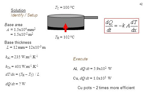 42 Solution Identify / Setup T H = 102 o C T C = 100 o C Base area A = 1.5x10 4 mm 2 = 1.5x10 -2 m 2 Base thickness L = 12 mm = 12x10 -3 m k Al = 235