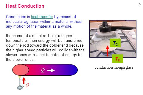 5 Heat Conduction Conduction is heat transfer by means of molecular agitation within a material without any motion of the material as a whole.heat tra