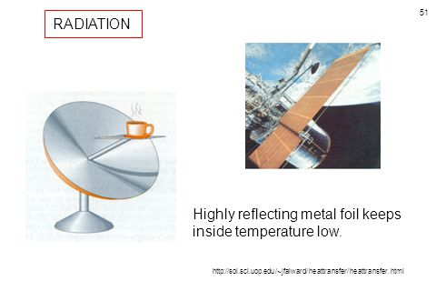 51 Highly reflecting metal foil keeps inside temperature low. RADIATION http://sol.sci.uop.edu/~jfalward/heattransfer/heattransfer.html