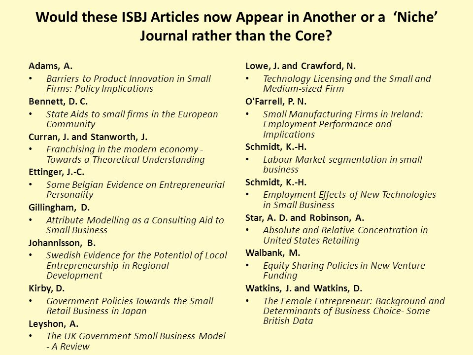 Would these ISBJ Articles now Appear in Another or a 'Niche' Journal rather than the Core.