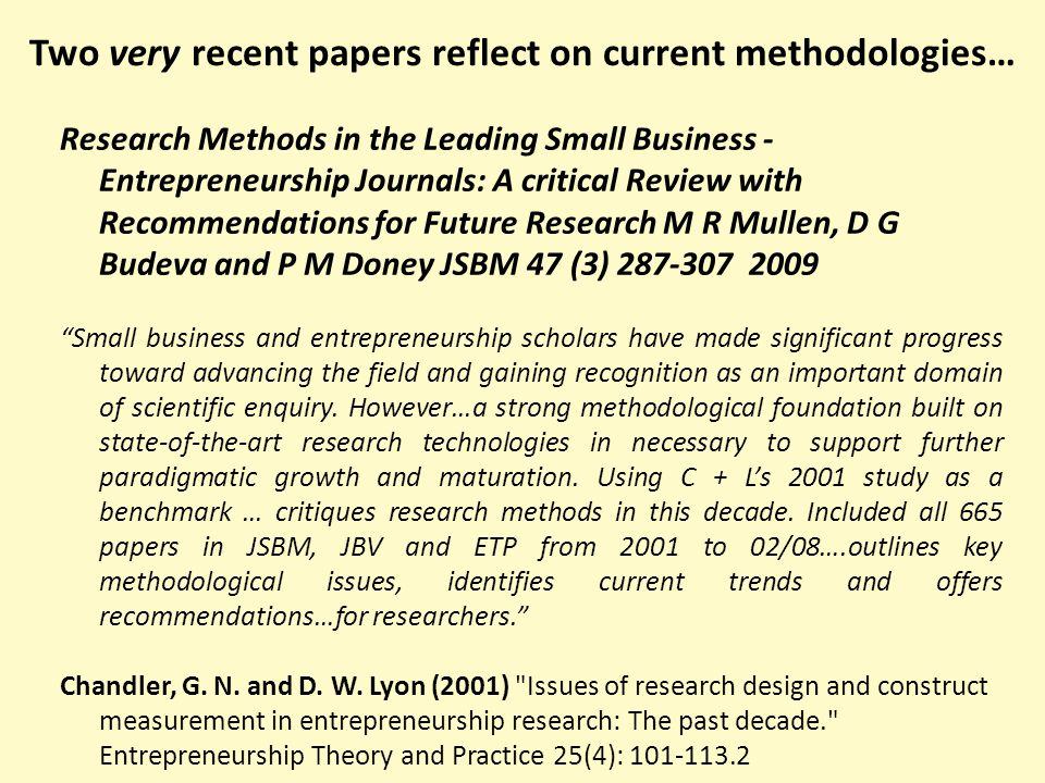 What Other Entrepreneurship Journals on ABS list will become 'Core'.