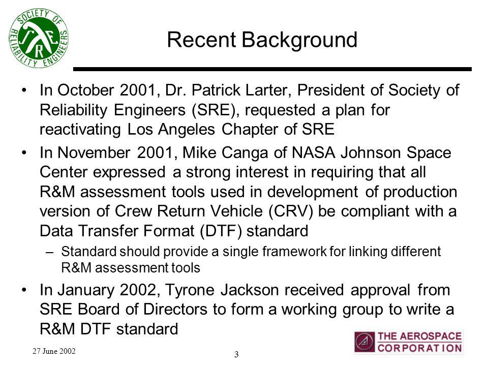 27 June 2002 3 Recent Background In October 2001, Dr.