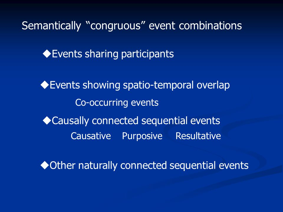 Semantically congruous event combinations  Other naturally connected sequential events  Events sharing participants  Events showing spatio-temporal overlap  Causally connected sequential events CausativePurposiveResultative Co-occurring events