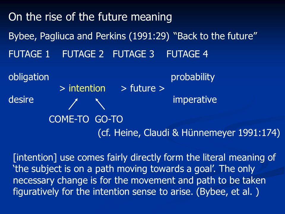 FUTAGE 1 FUTAGE 2 FUTAGE 3 FUTAGE 4 obligation probability > intention > future > desire imperative [intention] use comes fairly directly form the literal meaning of 'the subject is on a path moving towards a goal'.