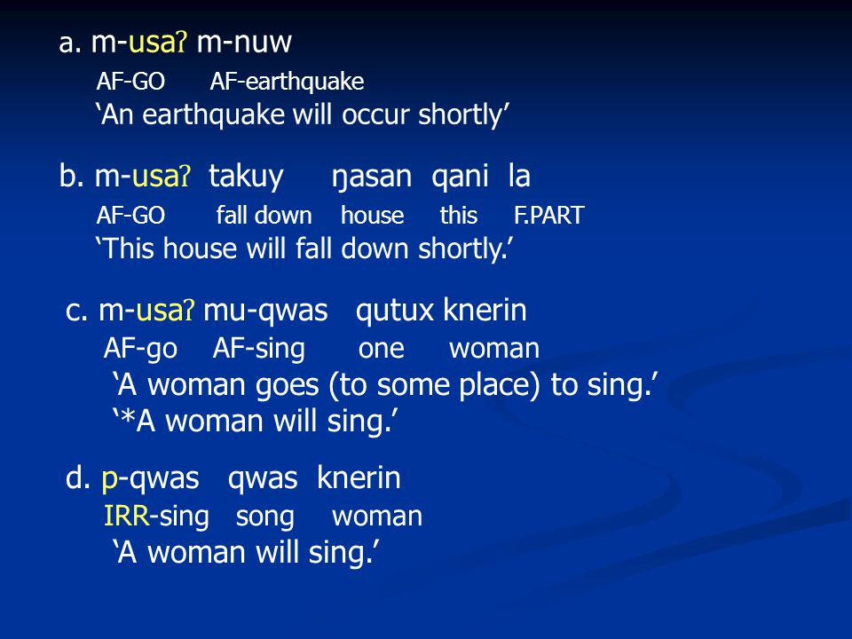 a. m-usa ʔ m-nuw AF-GO AF-earthquake 'An earthquake will occur shortly' b.