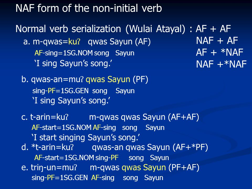 NAF form of the non-initial verb Normal verb serialization (Wulai Atayal) : AF + AF NAF + AF AF + *NAF NAF +*NAF a.