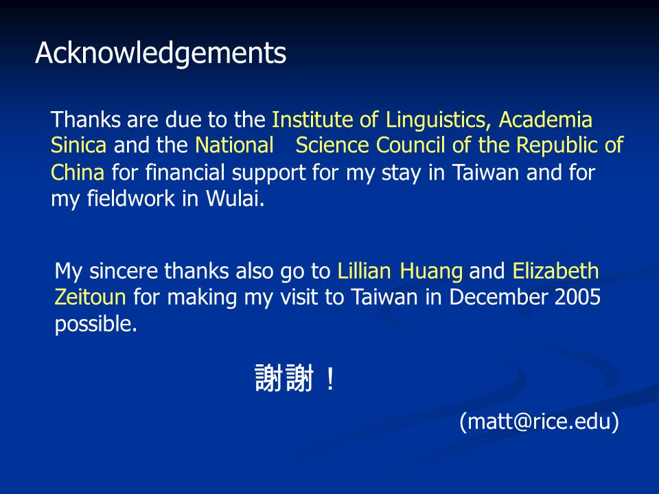 Acknowledgements Thanks are due to the Institute of Linguistics, Academia Sinica and the National Science Council of the Republic of China for financial support for my stay in Taiwan and for my fieldwork in Wulai.