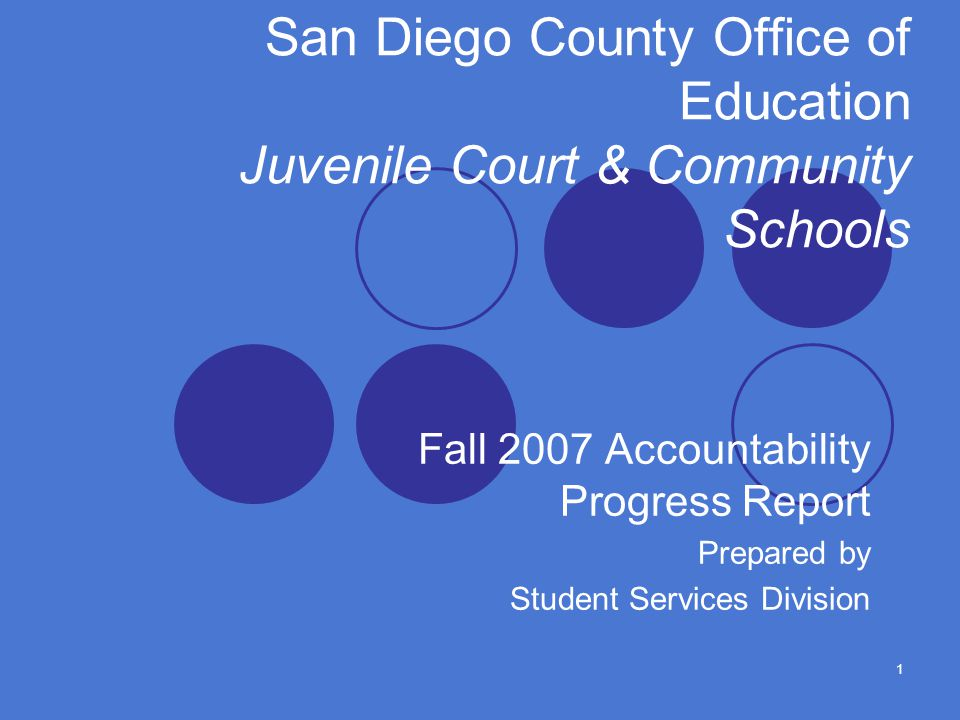 1 San Diego County Office of Education Juvenile Court & Community Schools Fall 2007 Accountability Progress Report Prepared by Student Services Division