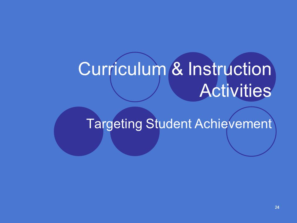 24 Curriculum & Instruction Activities Targeting Student Achievement