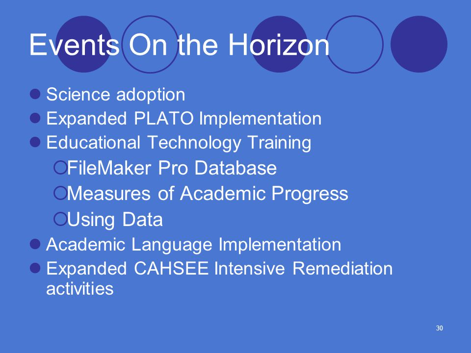 30 Events On the Horizon Science adoption Expanded PLATO Implementation Educational Technology Training  FileMaker Pro Database  Measures of Academic Progress  Using Data Academic Language Implementation Expanded CAHSEE Intensive Remediation activities