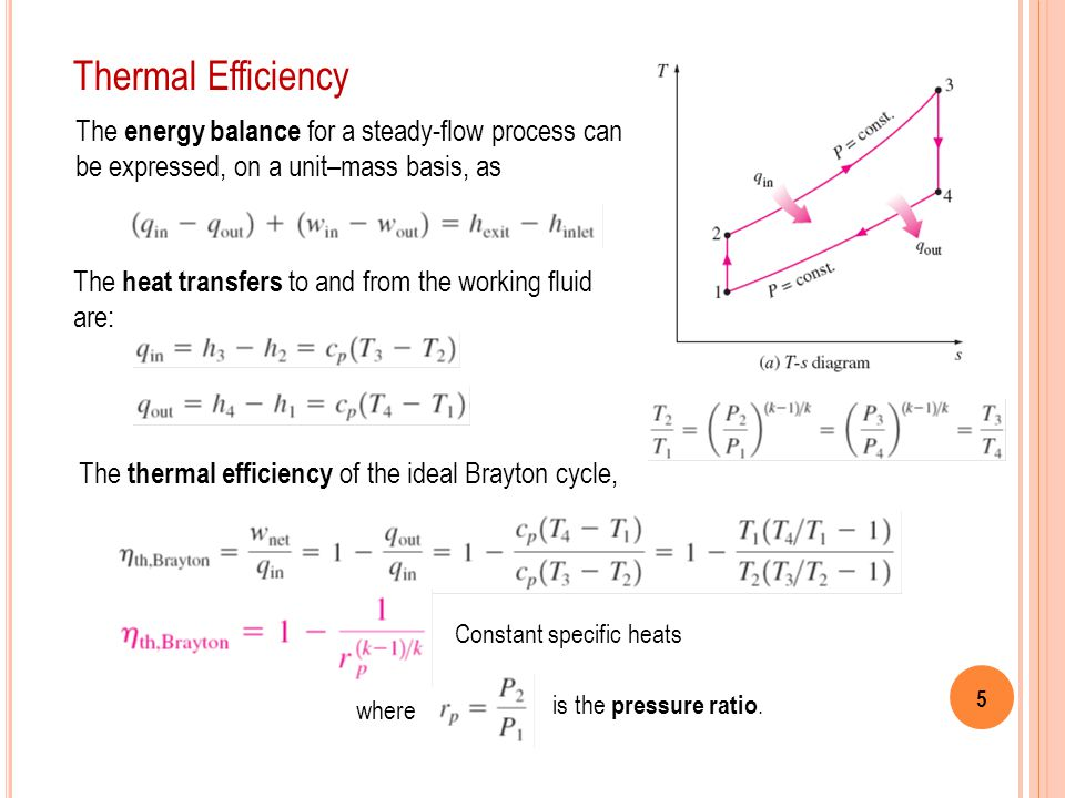 5 Thermal Efficiency The energy balance for a steady-flow process can be expressed, on a unit–mass basis, as The heat transfers to and from the workin