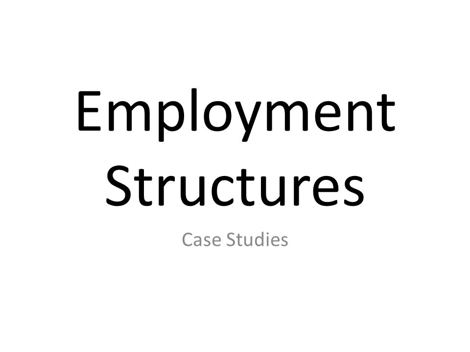 Employment Structures Case Studies