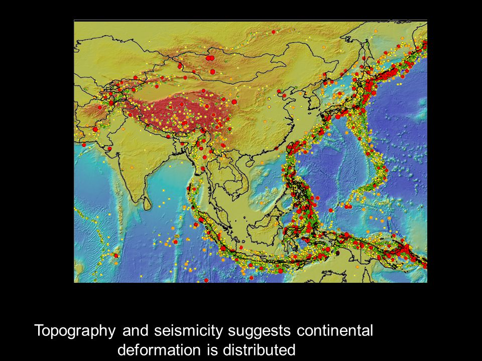 Topography and seismicity suggests continental deformation is distributed