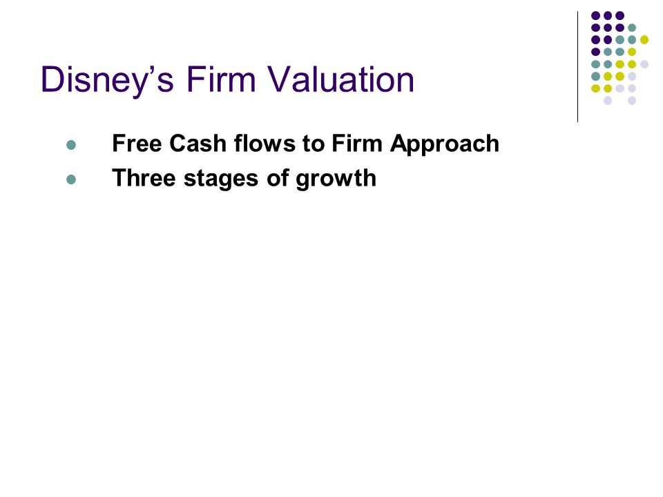 Disney's Firm Valuation Free Cash flows to Firm Approach Three stages of growth