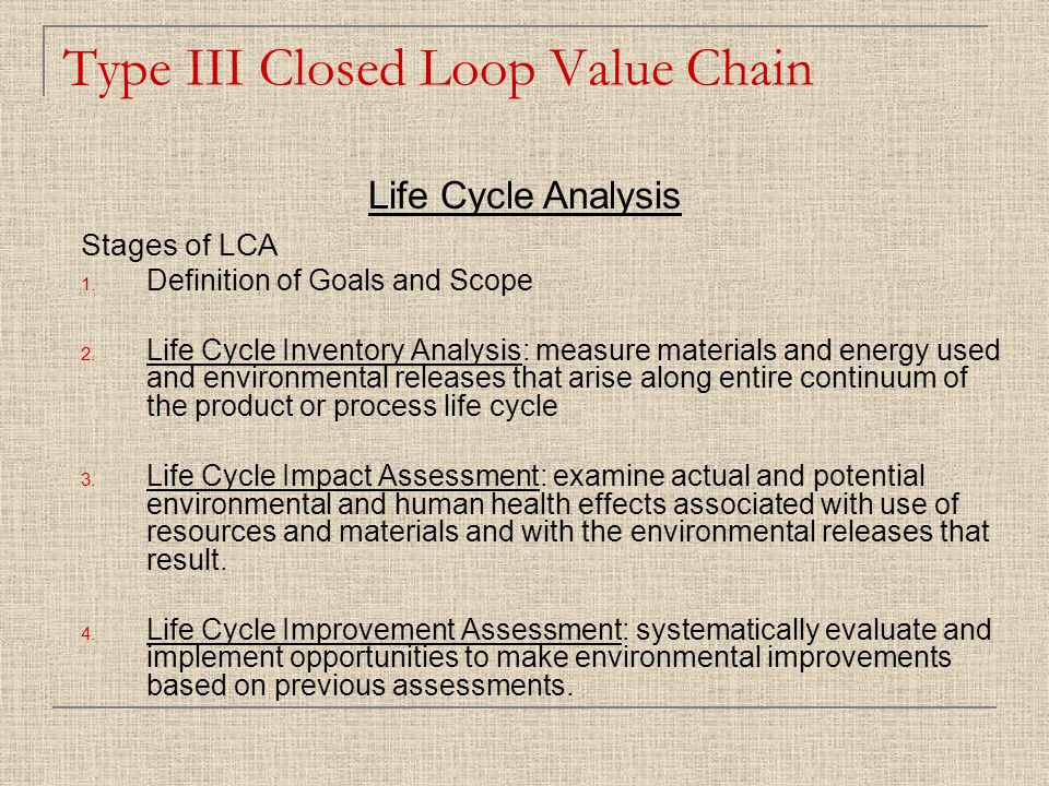 Stages of LCA 1. Definition of Goals and Scope 2.