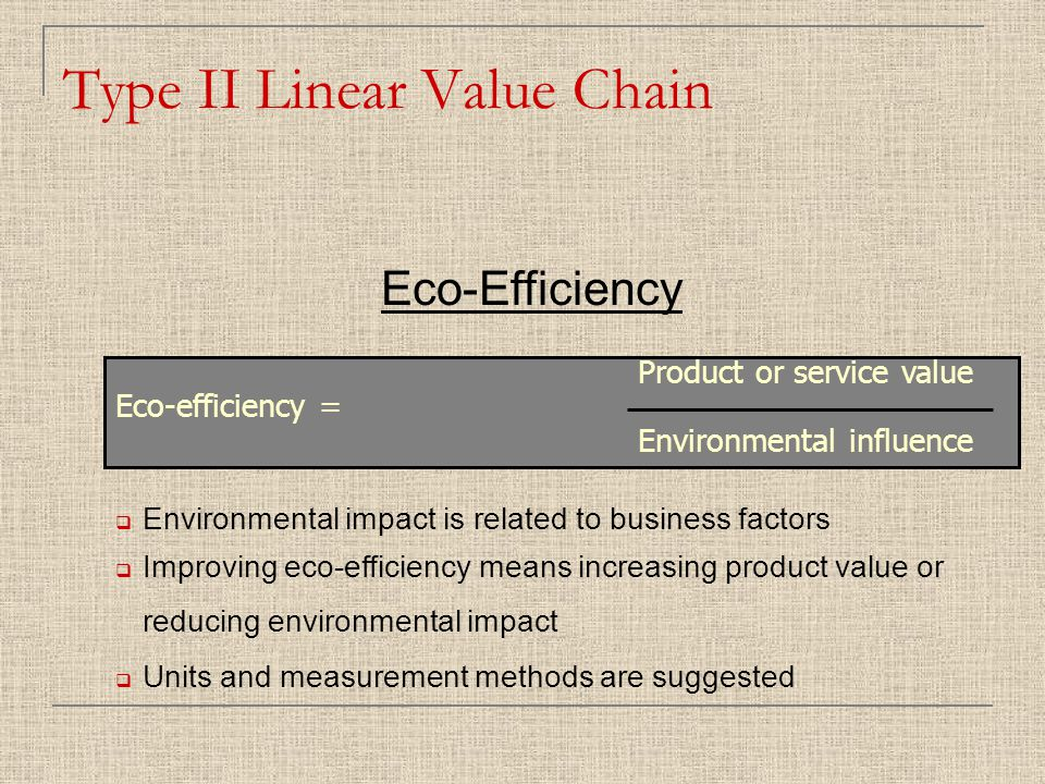 Type II Linear Value Chain  Environmental impact is related to business factors  Improving eco-efficiency means increasing product value or reducing environmental impact  Units and measurement methods are suggested Product or service value Eco-efficiency = Environmental influence Eco-Efficiency