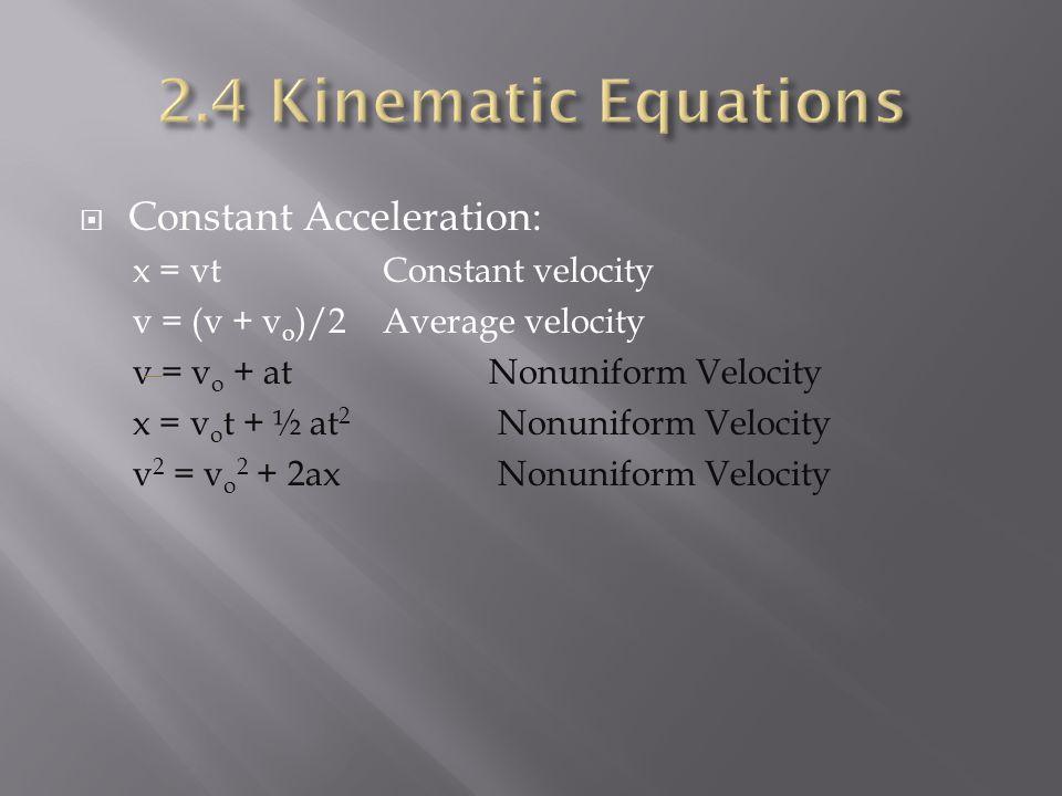  Constant Acceleration: x = vt Constant velocity v = (v + v o )/2 Average velocity v = v o + atNonuniform Velocity x = v o t + ½ at 2 Nonuniform Velocity v 2 = v o 2 + 2ax Nonuniform Velocity
