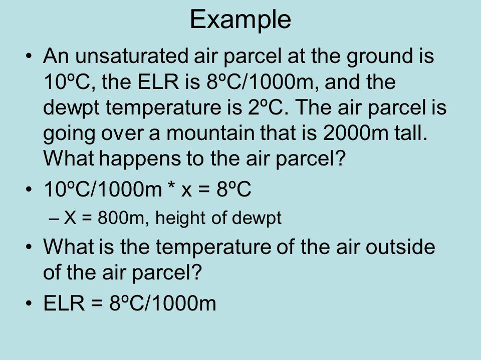 8ºC/1000m * 800m = 6.4ºC 10ºC – 6.4ºC = 3.6ºC, temp of surrounding air at 800m Temperature inside the air parcel at 800m is 2ºC.