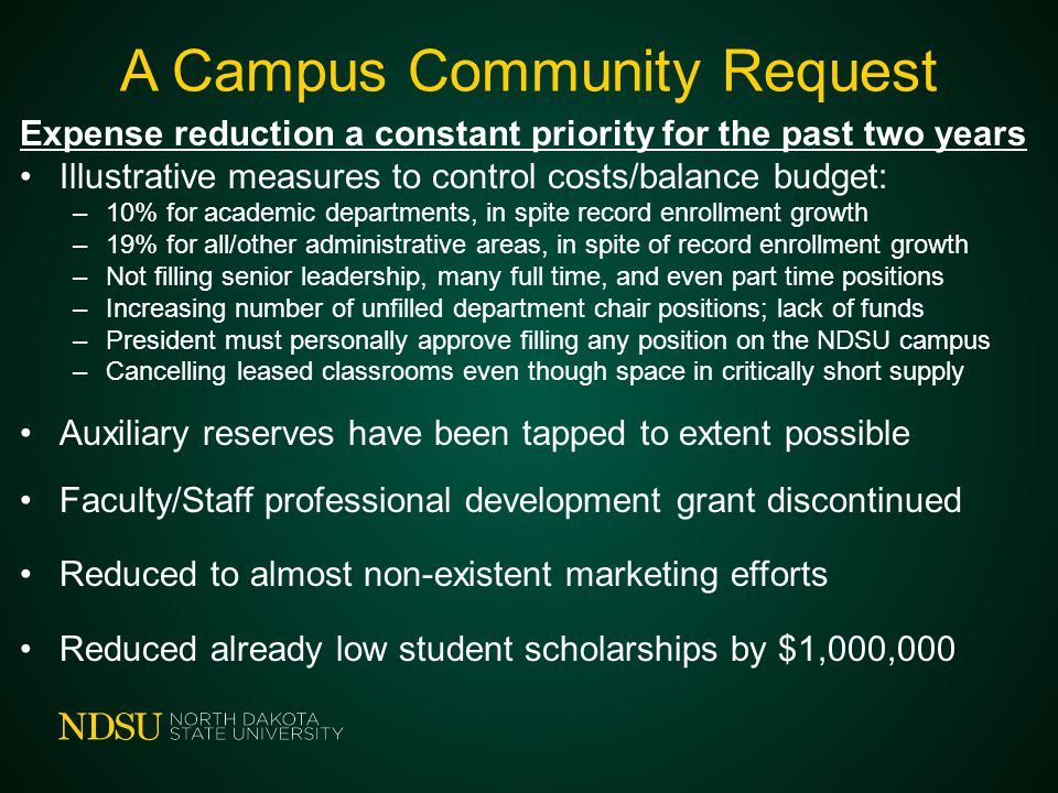 A Campus Community Request Expense reduction a constant priority for the past two years Illustrative measures to control costs/balance budget: –10% fo
