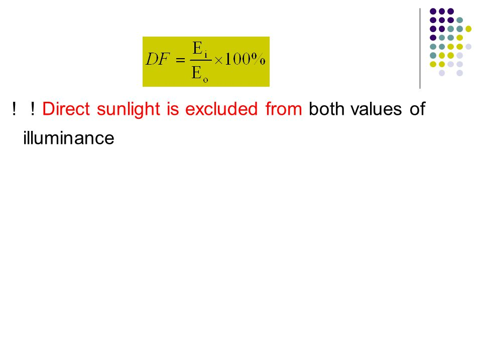 !! Direct sunlight is excluded from both values of illuminance