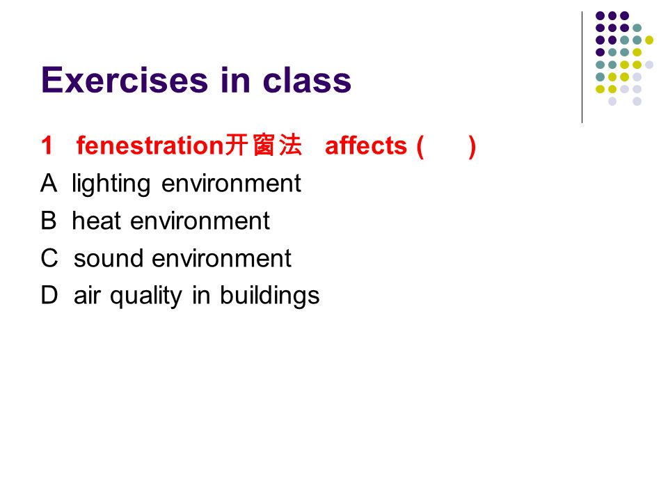 Exercises in class 1 fenestration 开窗法 affects ( ) A lighting environment B heat environment C sound environment D air quality in buildings