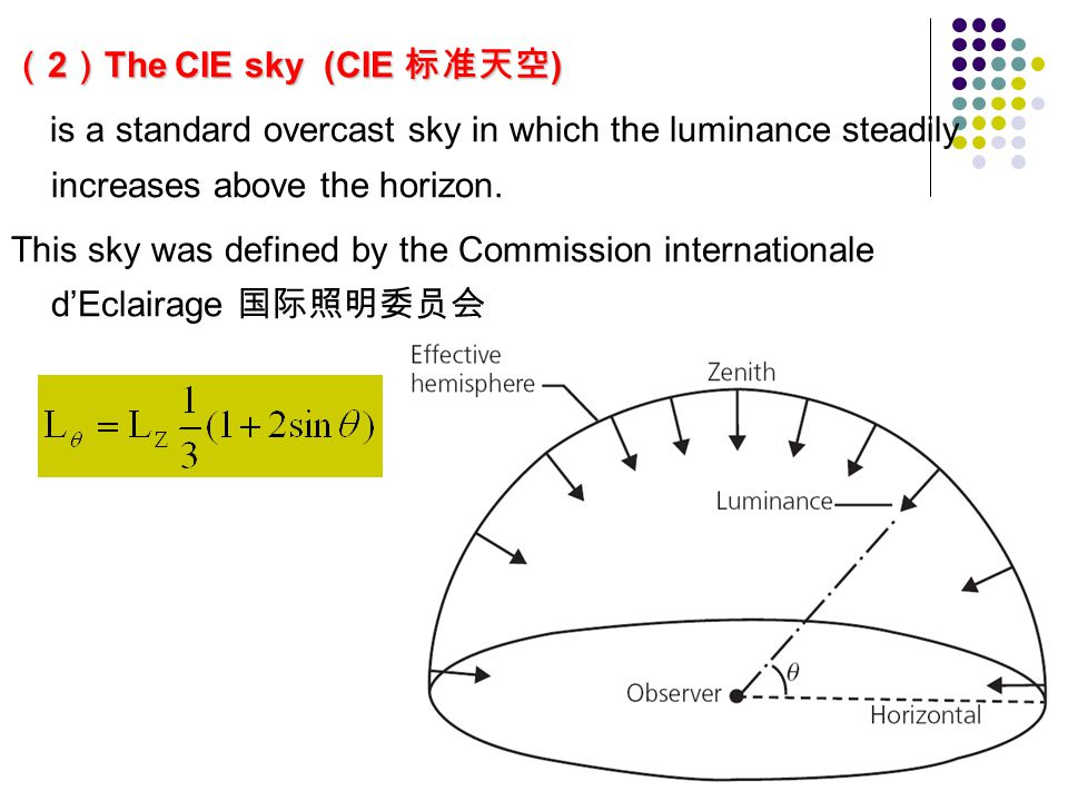 ( 2 ) The CIE sky (CIE 标准天空 ) is a standard overcast sky in which the luminance steadily increases above the horizon.