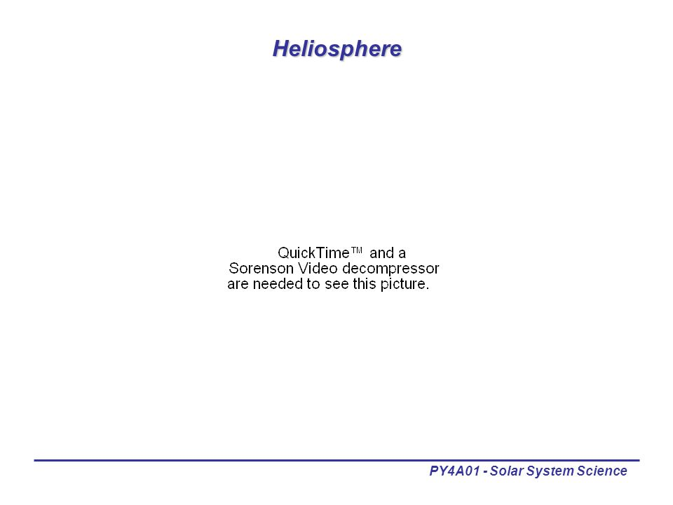 PY4A01 - Solar System Science Heliosphere