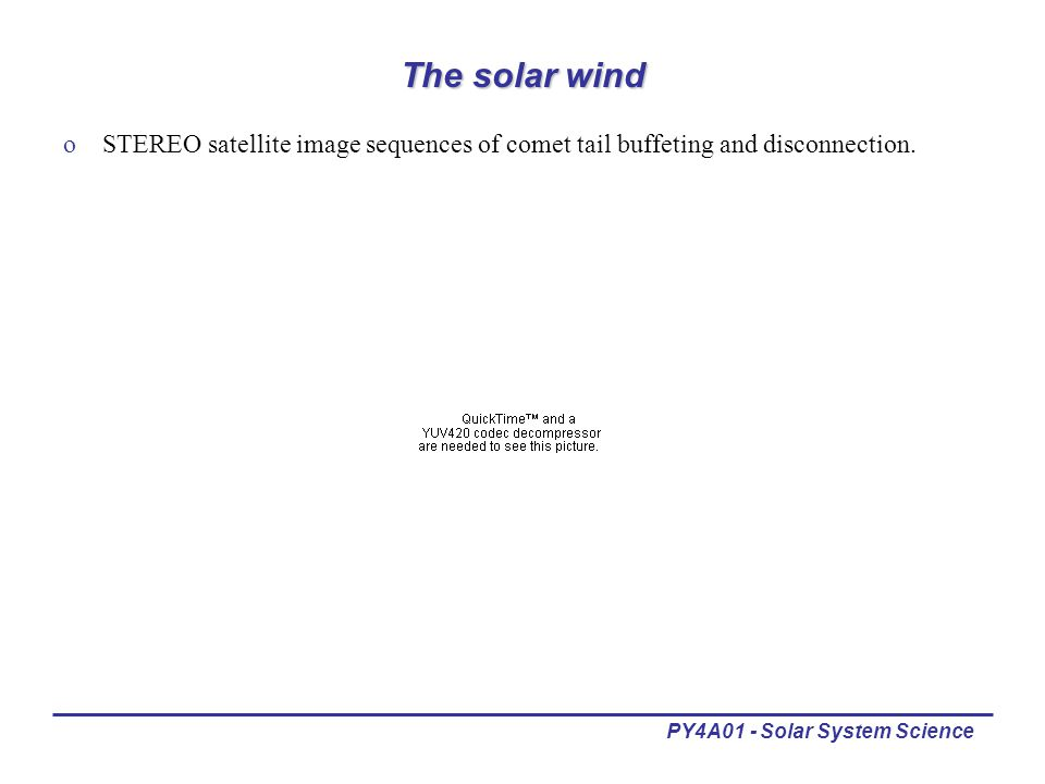 PY4A01 - Solar System Science The solar wind oSTEREO satellite image sequences of comet tail buffeting and disconnection.