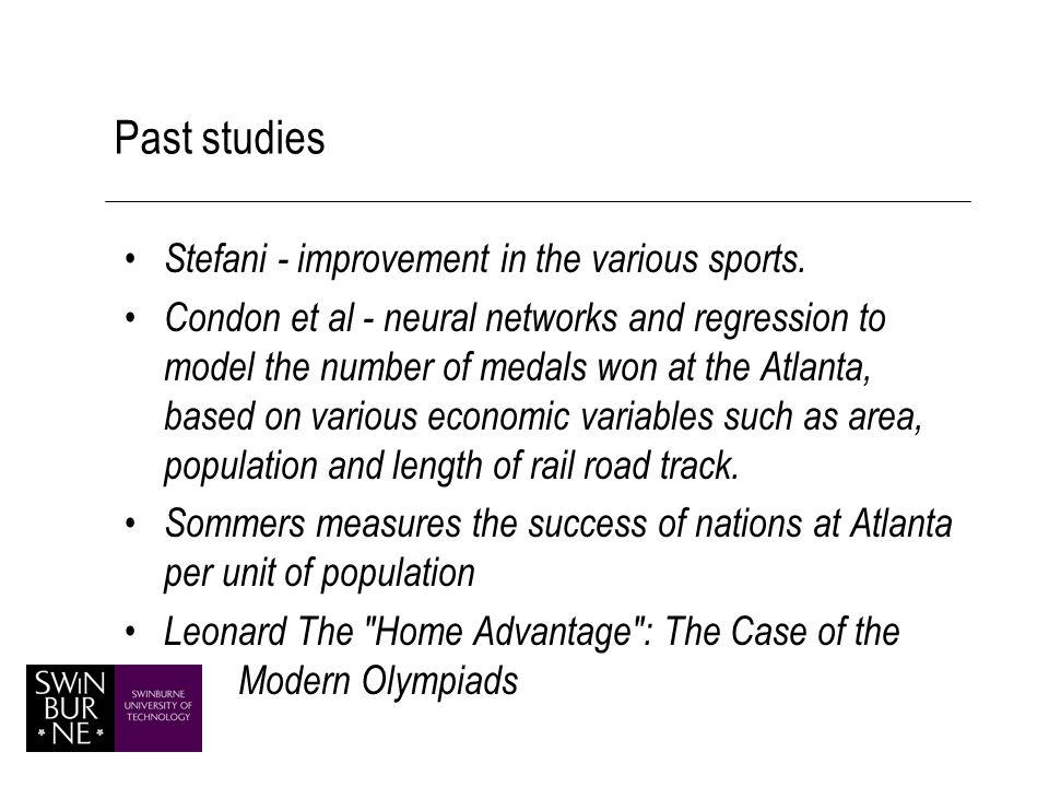 Past studies Stefani - improvement in the various sports.