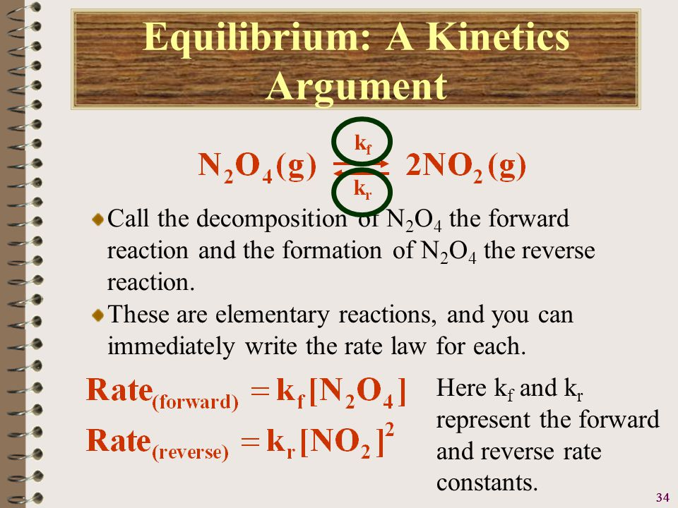 35 Equilibrium: A Kinetics Argument Ultimately, this reaction reaches an equilibrium state where the rate of the forward and reverse reactions are equal, therefore: kfkf krkr