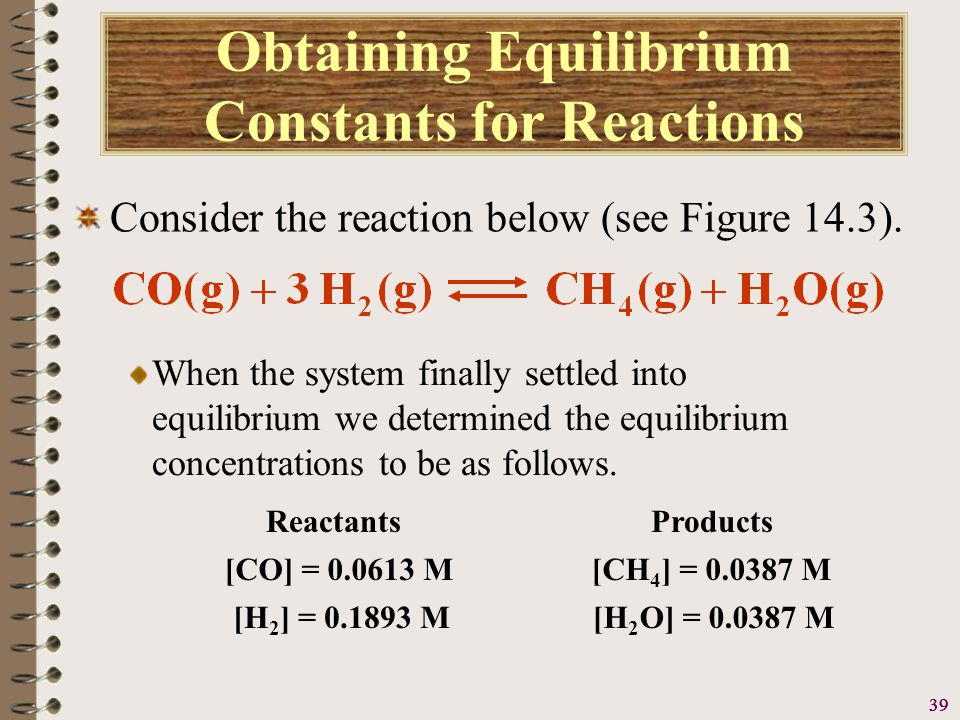 40 Obtaining Equilibrium Constants for Reactions Consider the reaction below (see Figure 14.3).