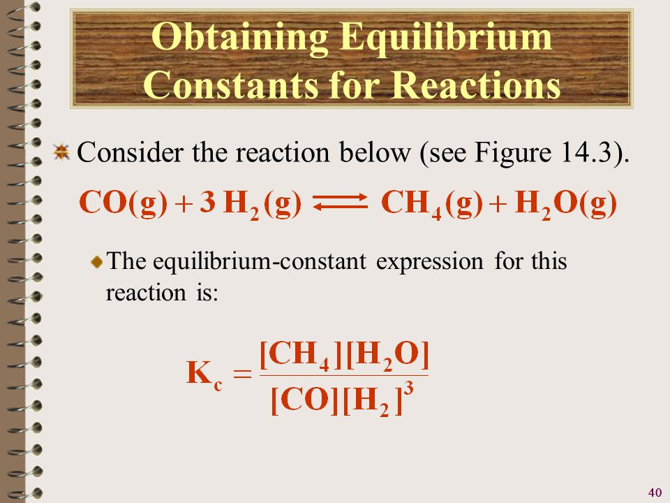 41 Obtaining Equilibrium Constants for Reactions Consider the reaction below (see Figure 14.3).