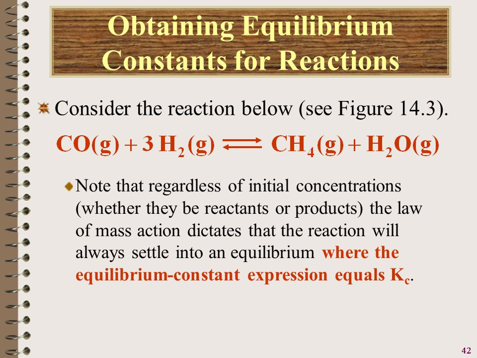 43 Obtaining Equilibrium Constants for Reactions Consider the reaction below (see Figure 14.3).