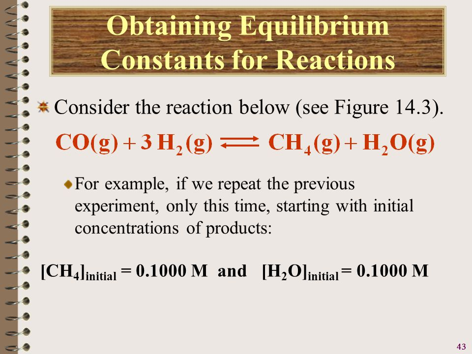44 Obtaining Equilibrium Constants for Reactions Consider the reaction below (see Figure 14.3).