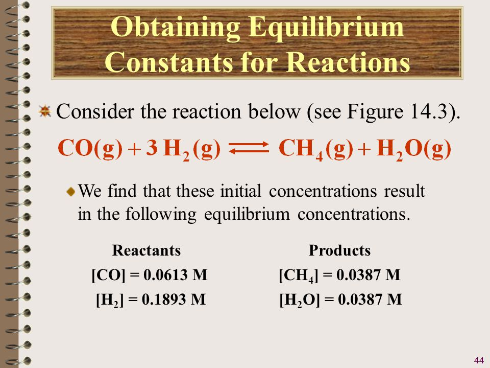 45 Obtaining Equilibrium Constants for Reactions Consider the reaction below (see Figure 14.3).