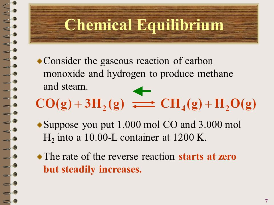 8888 Chemical Equilibrium Consider the gaseous reaction of carbon monoxide and hydrogen to produce methane and steam.