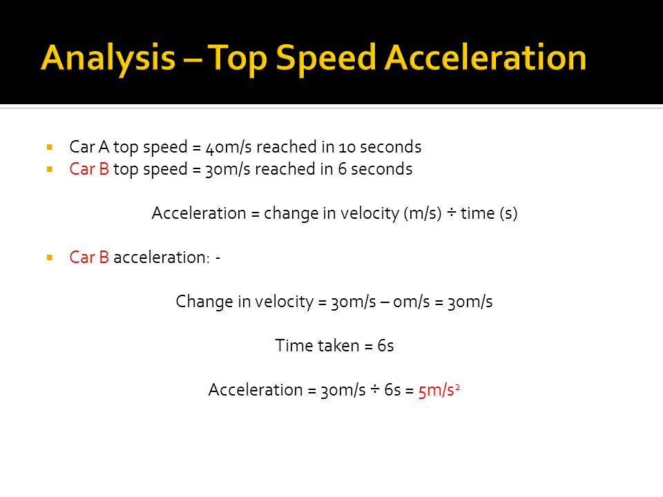  Car A top speed = 40m/s reached in 10 seconds  Car B top speed = 30m/s reached in 6 seconds Acceleration = change in velocity (m/s) ÷ time (s)  Ca