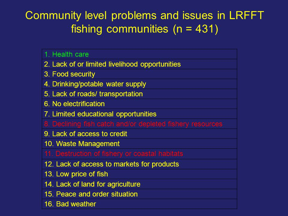 Community level problems and issues in LRFFT fishing communities (n = 431) 1. Health care 2. Lack of or limited livelihood opportunities 3. Food secur