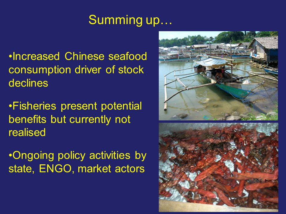 Summing up… Increased Chinese seafood consumption driver of stock declines Fisheries present potential benefits but currently not realised Ongoing pol