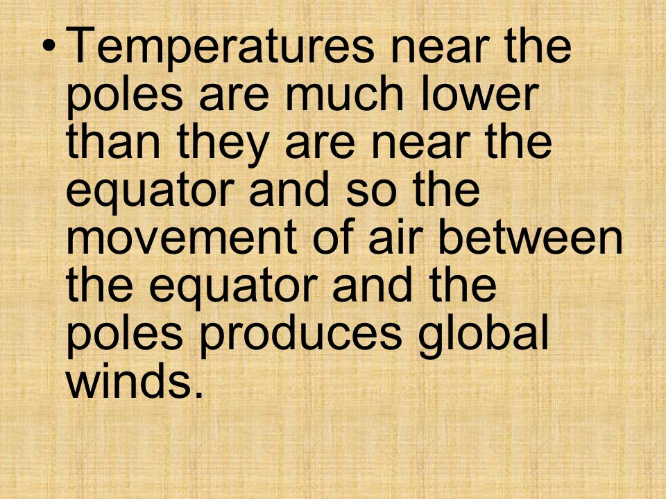 Temperatures near the poles are much lower than they are near the equator and so the movement of air between the equator and the poles produces global