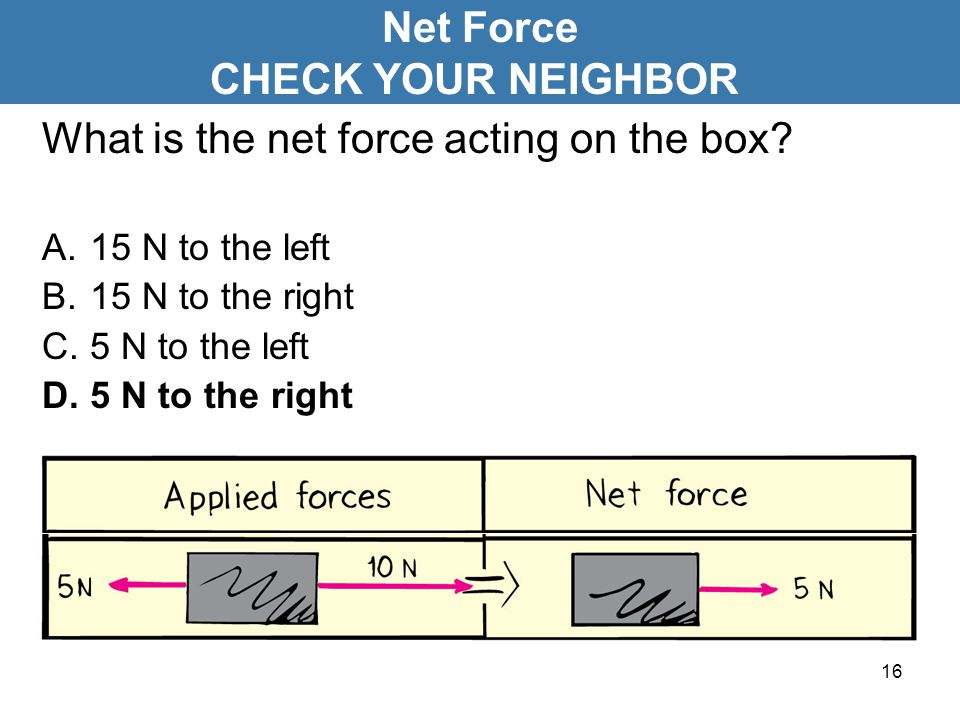 16 What is the net force acting on the box? A.15 N to the left B.15 N to the right C.5 N to the left D.5 N to the right Net Force CHECK YOUR NEIGHBOR