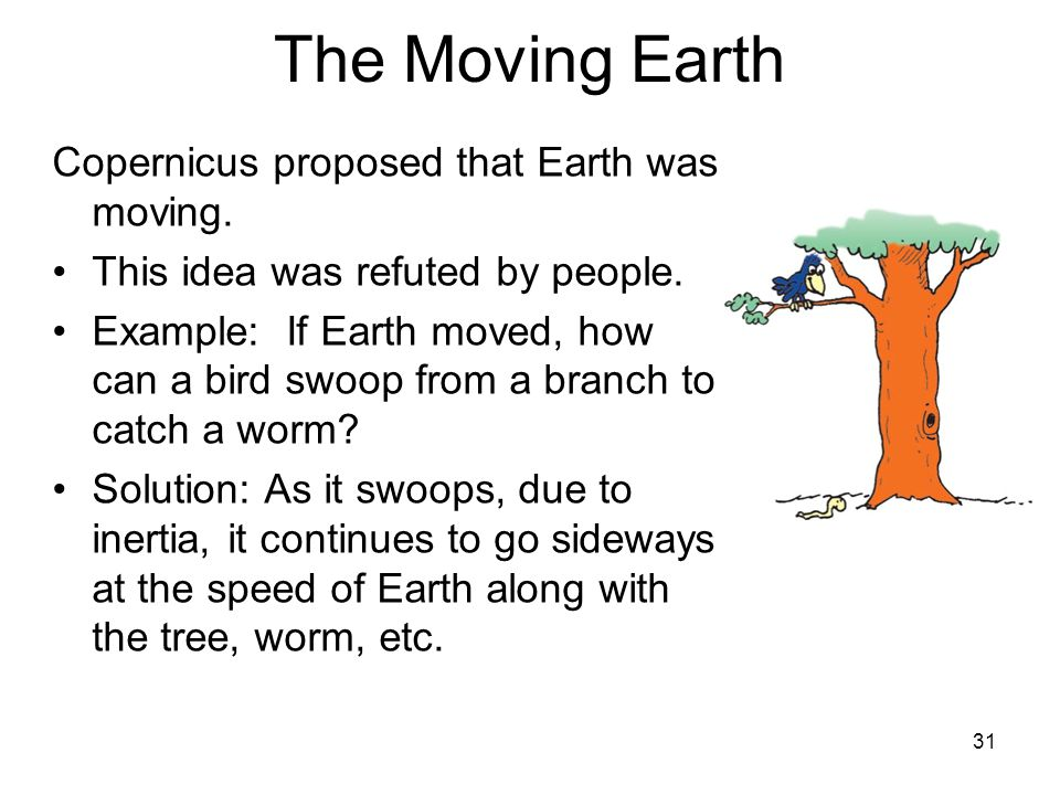 31 The Moving Earth Copernicus proposed that Earth was moving. This idea was refuted by people. Example: If Earth moved, how can a bird swoop from a b